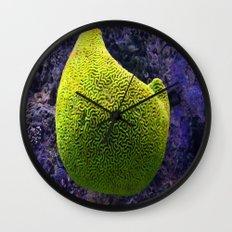 Lime green sea creature Wall Clock