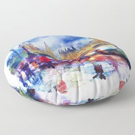 London Rain watercolor Floor Pillow