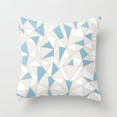 Ab Nude Lines with Blue Blocks Throw Pillow
