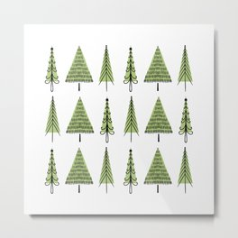 Modern Christmas Tree Pattern Metal Print