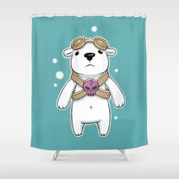 pilot Shower Curtains featuring Polar Pilot by Freeminds