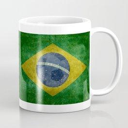 Vintage Brazilian National flag with football (soccer ball) Coffee Mug