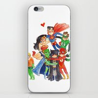 justice league iPhone & iPod Skins featuring Justice League Hug! by Super Group Hugs