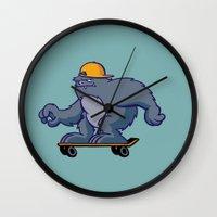 bigfoot Wall Clocks featuring Bigfoot Rollin' by BoilerRoom Studios