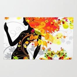 Autumn decorative composition with girl Rug