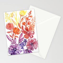 Floral abstract and colorful watercolor illustration Stationery Cards