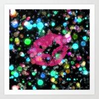 kiss Art Prints featuring KISS by Yilan