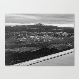 5280 Snowcap // Grainy Black & White Airplane Wing Landscape Photography of Colorado Rocky Mountains Canvas Print