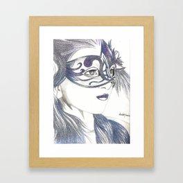 Venetian Mask Girl Sapphire Framed Art Print