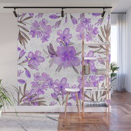 Watercolor lavender lilac brown modern floral Wall Mural