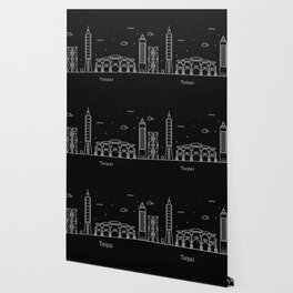 Taipei City Minimal Nightscape / Skyline Drawing Wallpaper