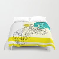 moto Duvet Covers featuring Vintage BSA Super Rocket Motorcycle Art Print by Matylda Mcilvenny