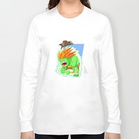 street fighter Long Sleeve T-shirts featuring STREET FIGHTER - BLANCA by mirojunior