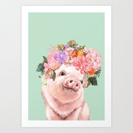 Baby Pig with Flowers Crown in Pastel Green Art Print