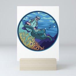 Diver with turtle Mini Art Print