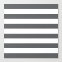 Simply Striped in Storm Gray and White Canvas Print