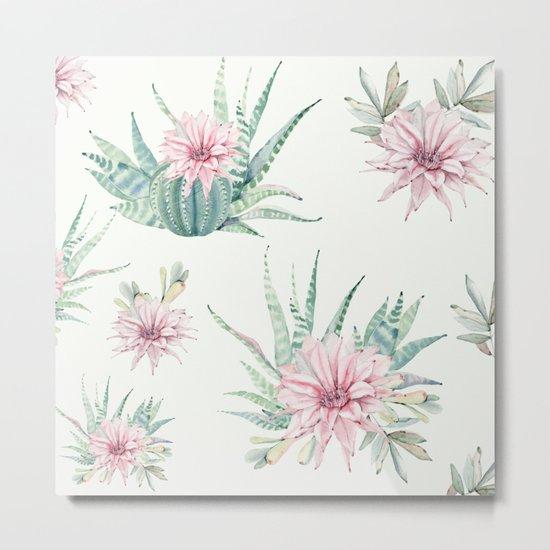 Cactus Pattern Light Green #society6 #buyart Metal Print