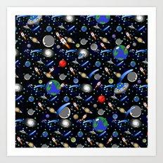 Galaxy Universe - Planets, Stars, Comets, Rockets Art Print