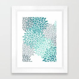 Floral Pattern, Aqua, Teal, Turquoise and Gray Framed Art Print