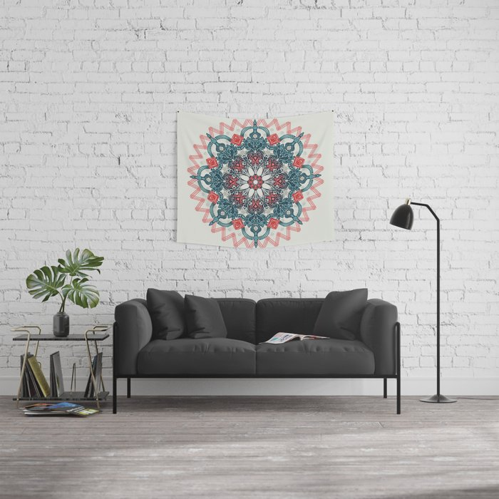 Coral & Teal Tangle Medallion Wall Tapestry