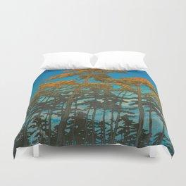Vintage Japanese Woodblock Print Art Print Tall Sunset Trees Silhouette Twilight Forest East Asian Duvet Cover