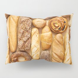 Bread baking rolls and croissants background Pillow Sham
