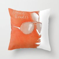 stevie nicks Throw Pillows featuring Stevie Wonder by Nina Bryant Studio