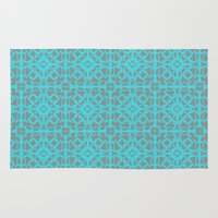gray pattern Area & Throw Rugs featuring Turquoise and Gray Pattern  by xiari