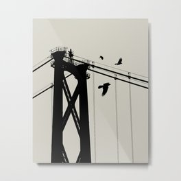 Bridge - Graphic Birds Series, Plain - Modern Home Decor Metal Print