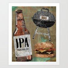 Beer & BBQ Art Print