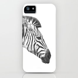 Black and White Zebra Profile iPhone Case