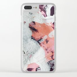 Taboo [2]: a vibrant, abstract, mixed-media piece in purple, orange, and light blue Clear iPhone Case
