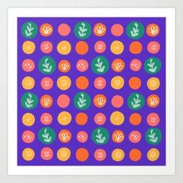 Botanical Polka Dots Art Print