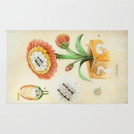 Fire Flower Botanical Illustration Rug