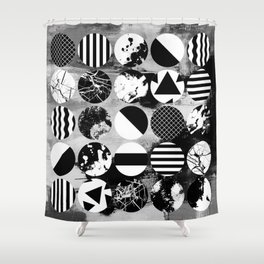 Eclectic Circles - Black and white, abstract, geometric, textured designs Shower Curtain