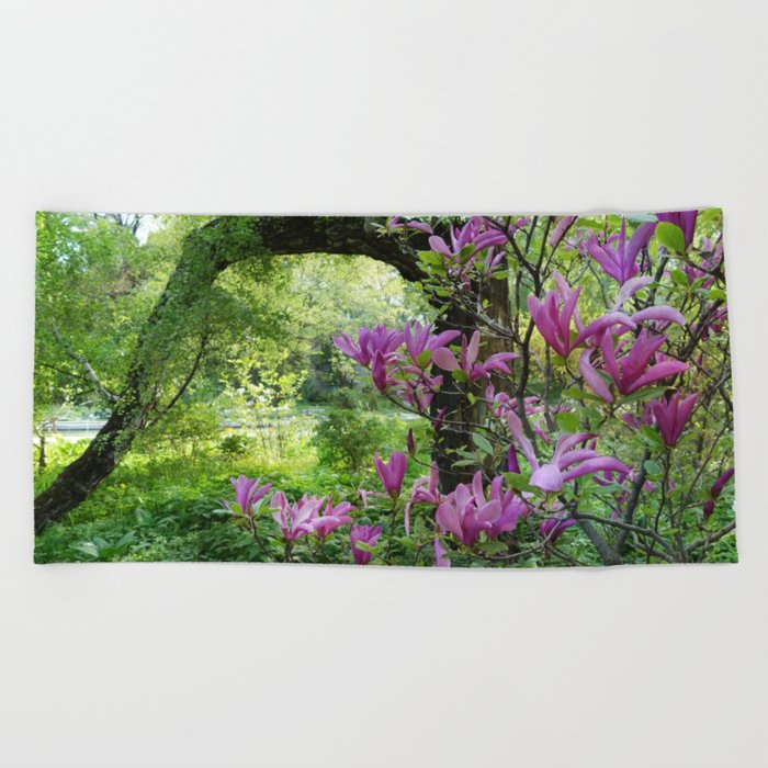 Blooming garden Magnolia Beach Towel