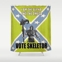 skeletor Shower Curtains featuring Vote Skeletor by Itomi Bhaa
