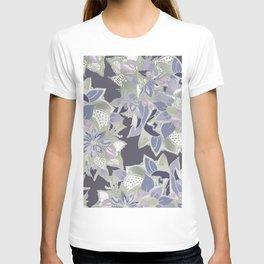 Mauve gray lavender silver watercolor floral T-shirt