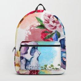 Watercolor Floral Skulls Backpack