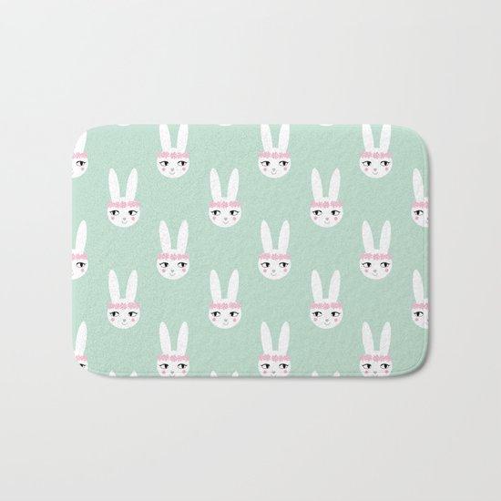 Bunny Rabbit mint spring cute character illustration nursery kids minimal floral crown Bath Mat