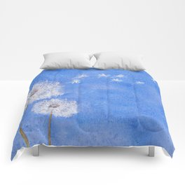 flying dandelion watercolor painting Comforters