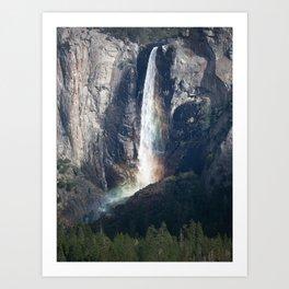Bridalveil Falls, Lit Up Like a Rainbow Yosemite California Art Print