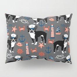 Boston Terrier nautical sailing lighthouse sailor pattern terriers dog breed Pillow Sham