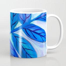 Leaves in Blue Coffee Mug