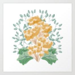 Symmetrical Flowers Green and Yellow Art Print