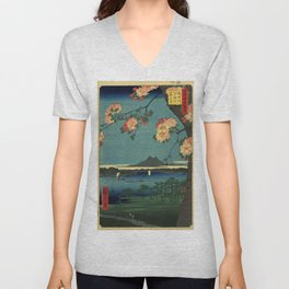 Ukiyo-e, The Grove at the Suijin Shrine Unisex V-Neck