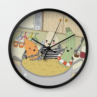 vegetable Wall Clocks featuring Vegetable Soup by yellow pony