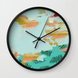 Seafoam Fern Collage Wall Clock