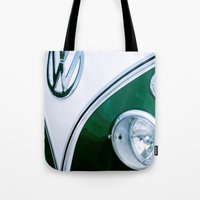 vw bus Tote Bags featuring bus by LOPP