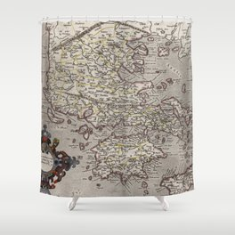 Vintage Map of Greece (1618) Shower Curtain